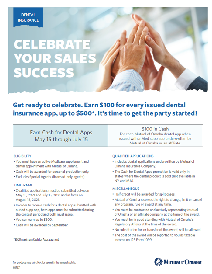 2021 Dental incentive with Mutual of Omaha